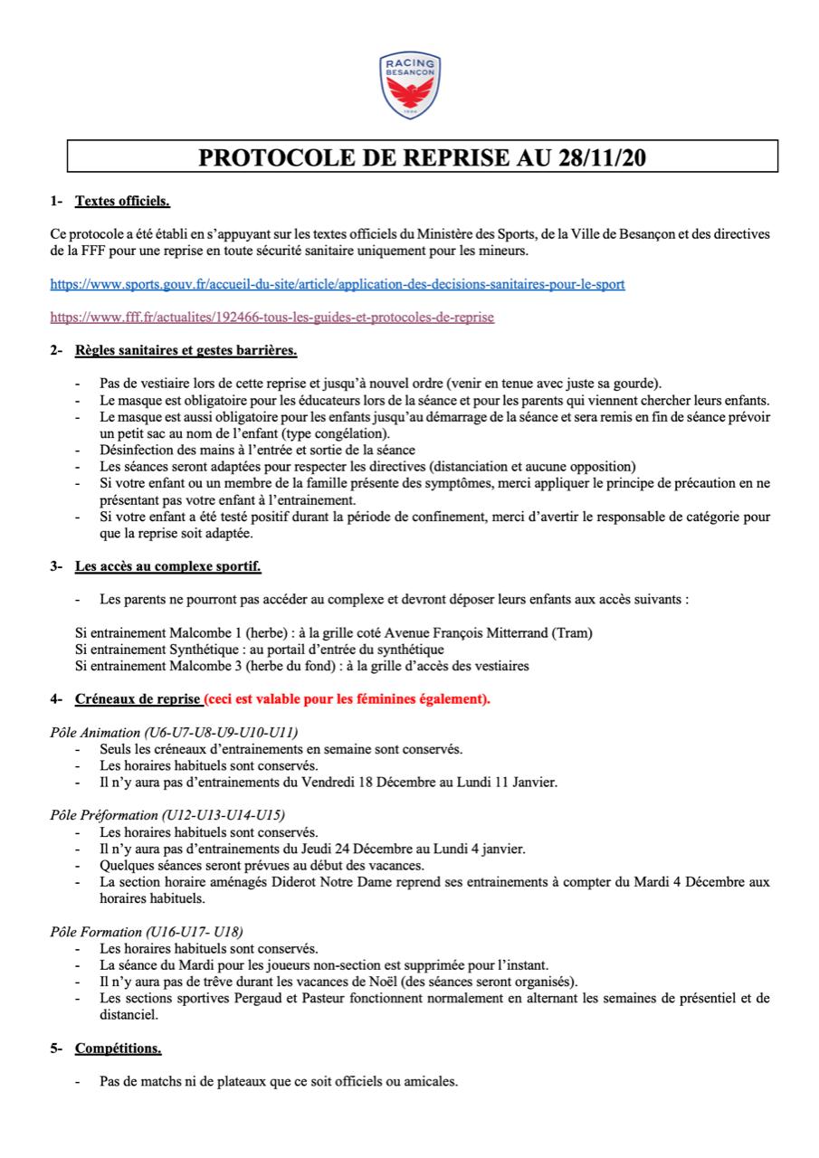 PROTOCOLE DE REPRISE RB 28-11-20